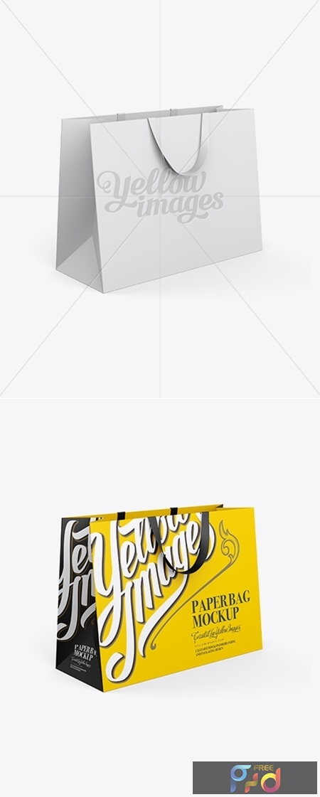 Paper Shopping Bag With Ribbon Handles Mockup - Halfside View 13060 1