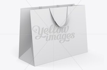 Paper Shopping Bag With Ribbon Handles Mockup - Halfside View 13060 7
