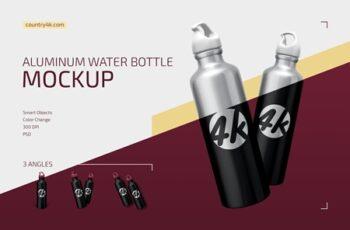 Aluminum Water Bottle Mockup Set 4351770 2