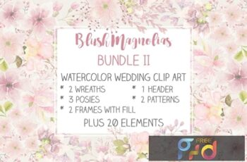 Blush Magnolias- Wedding Clip Art Set II KJUKQ26 4