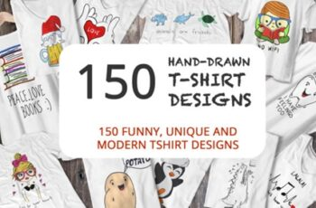 150 Hand Drawn Funny and Simple T-shirt 2178808 9