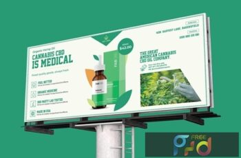 Cannabis Hemp Oil Billboard PSD Template 3D6YC95 2