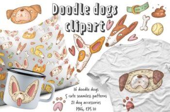 Doodle Dogs Clipart Set 2178262 7