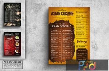 Various Asian Food Menu Poster Design Bundle EYL99F6 2