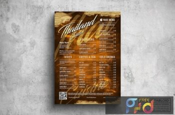 Vintage Elegant Thai Poster Menu - A3 & US Tabloid LYLFJ3Y 4