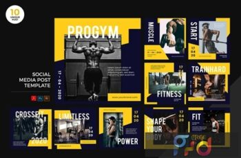 Gym Healthy Lifestyle Social Media Kit PSD & AI T6BK5DJ 4