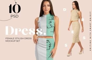 Woman Elegant Skirt Suit Mockup Set 4296581 4