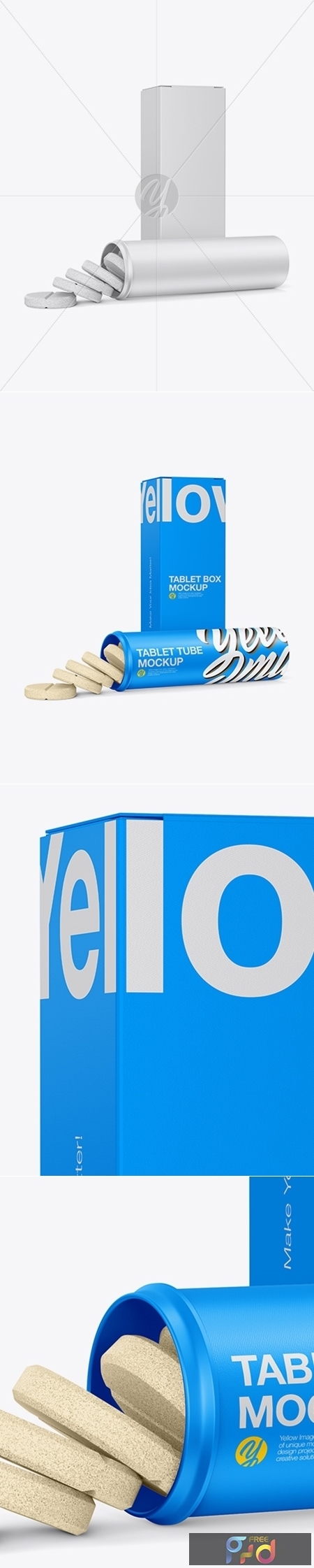 Opened Tablets Tube & Paper Box Mockup - Half Side View 24164 1