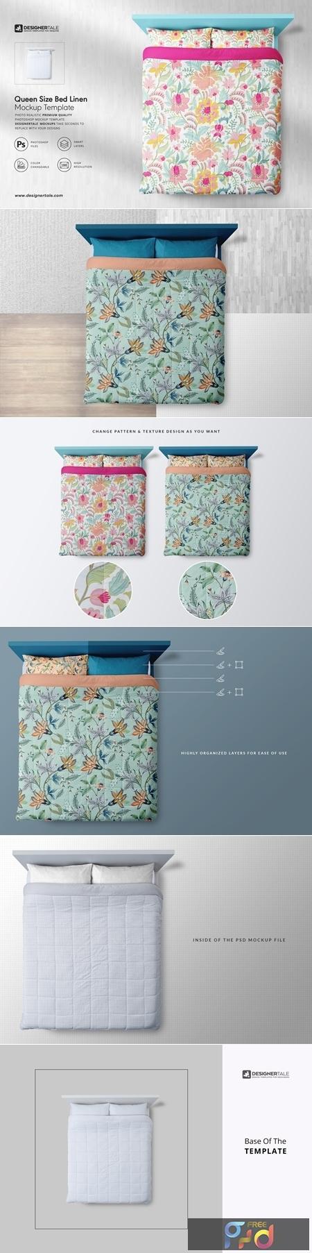 Queen Size Bed Linen Mockup 4131214 1