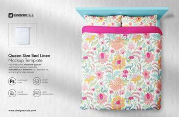 Queen Size Bed Linen Mockup 4131214 8