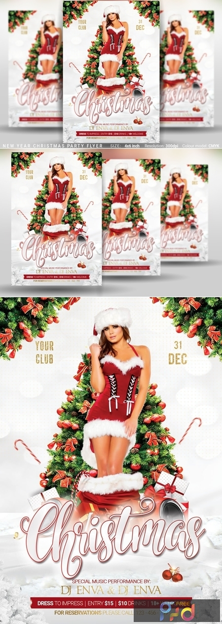 Christmas New Year Party Flyer 4387388 1