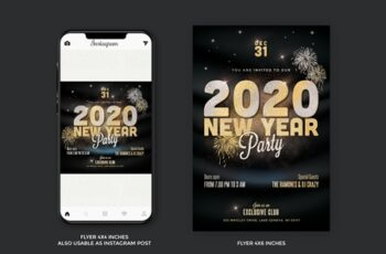 New Year Party Flyer Gold 4385454 4