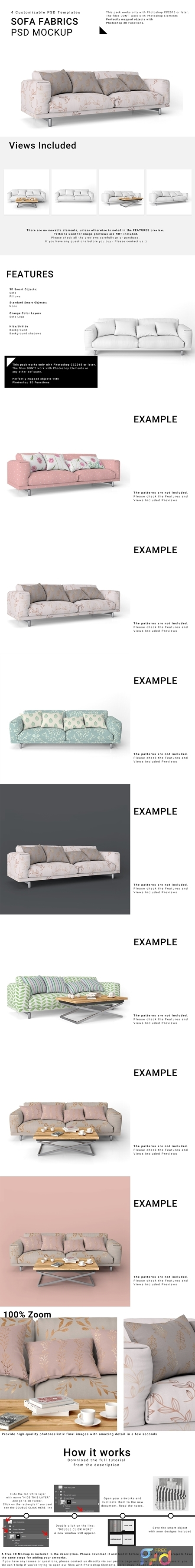 Sofa and Throw Pillows Set 3771292 1