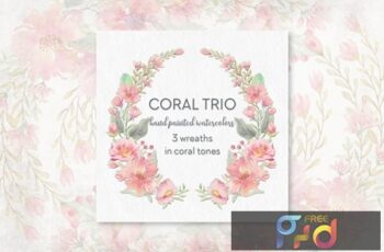 Coral Trio 3 Watercolor Wreaths KXFPHNE 4