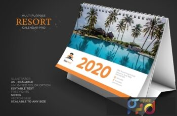 2020 Resort Hotel Calendar Desk Pro 3Y5P7YV 7
