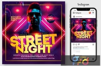 Street Night Party Flyer Template 4445067 8