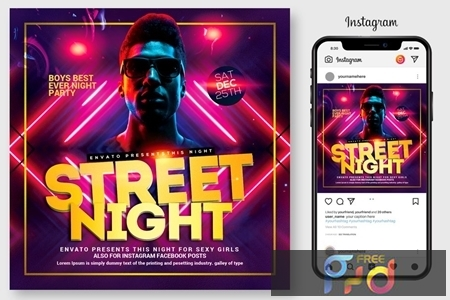 Street Night Party Flyer Template 4445067 1
