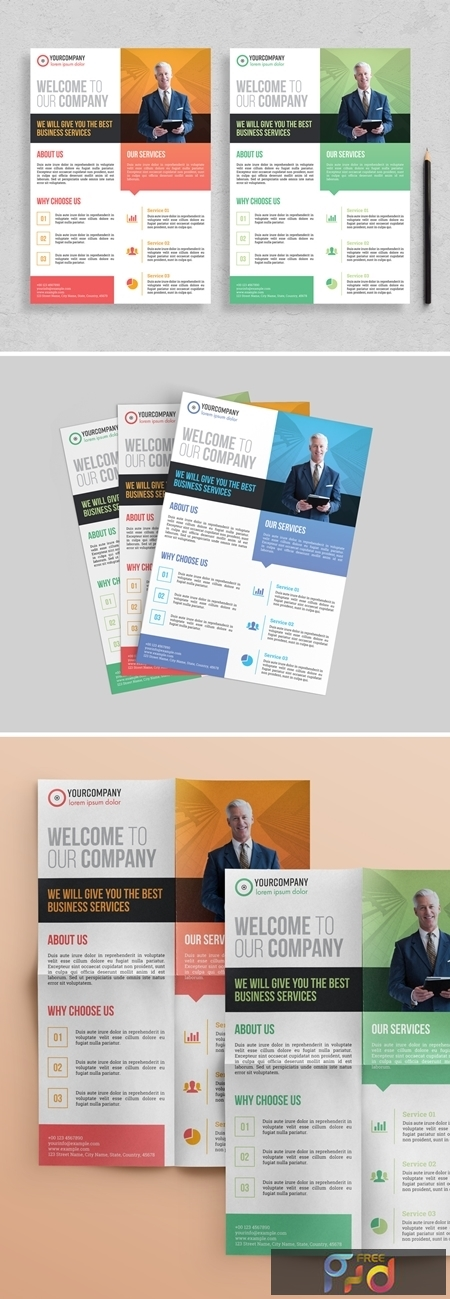 Corporate Flyer Layout with Colorful Accents 313872991 1