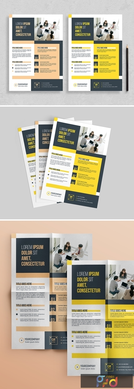 Flyer Layout with Colorblock Elements 313873087 1