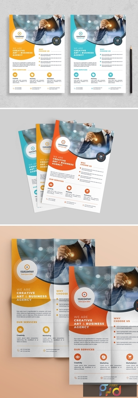 Flyer Layout with Colorful Accents 313873042 1