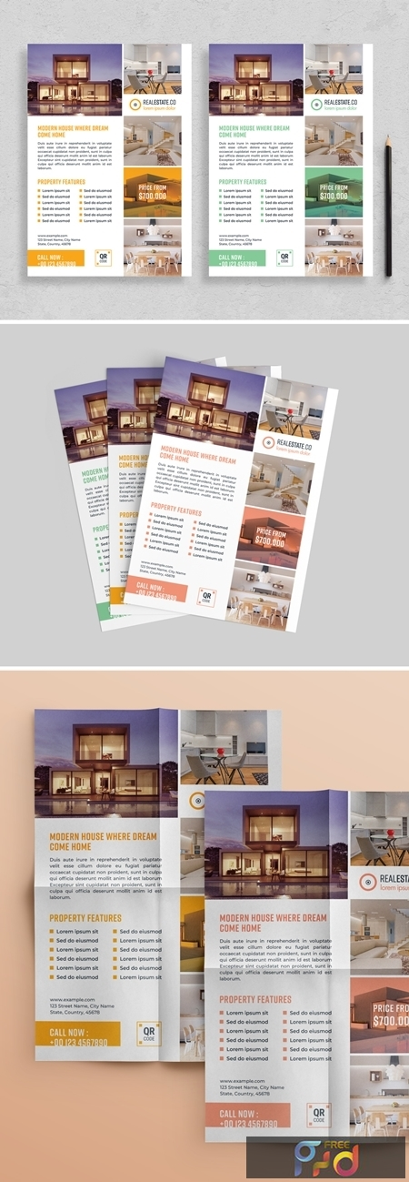 Flyer Layout with Colorful Accents 313873227 1