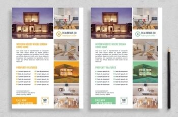 Flyer Layout with Colorful Accents 313873227 6