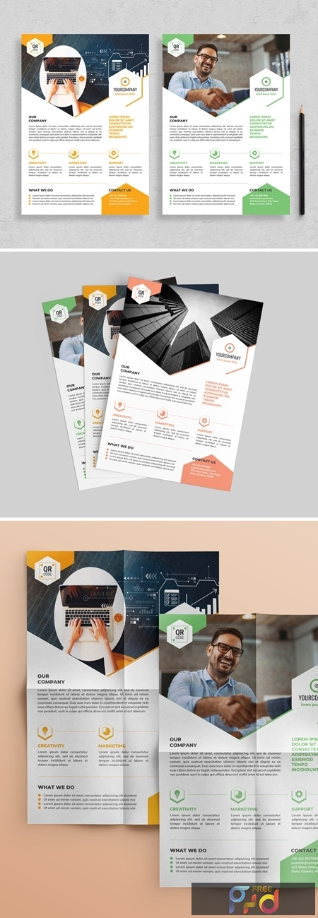 Flyer Layout with Hexagonal Elements 313873043 1