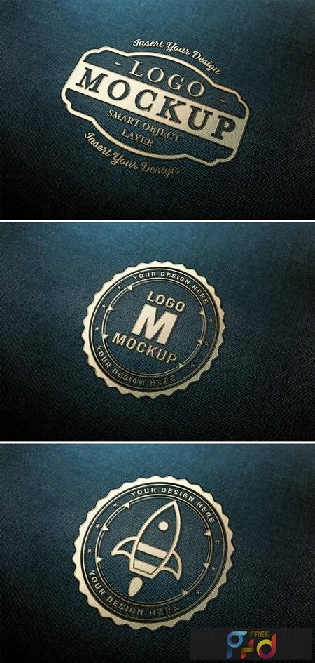 Gold Logo Mockup on Dark Fabric Texture 313648441 1