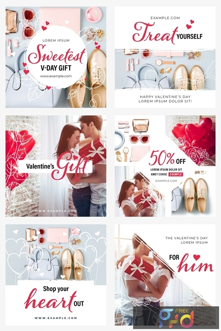Valentines Day Social Media Post Layout Set 312957776 1