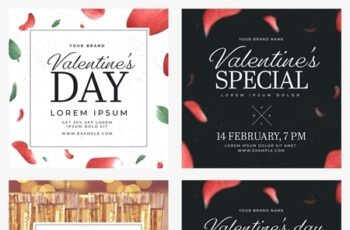 Valentines Day Social Media Post Layout Set with Floral Illustrations 312957860