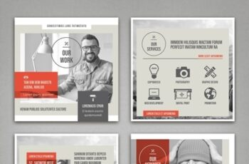 Pale Beige and Gray with Red Accents Social Media Square Post Layouts 314311321 2