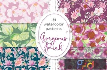 Gorgeous Pinks Watercolor Patterns D3L47CQ 3