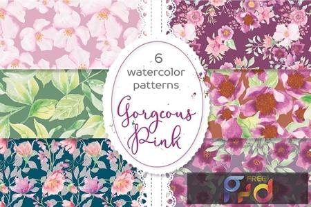 Gorgeous Pinks Watercolor Patterns D3L47CQ 1
