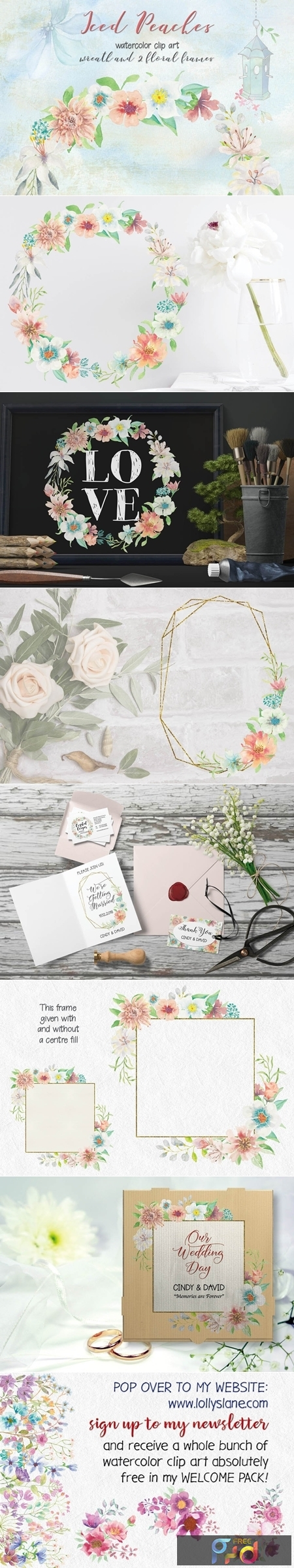 Iced Peaches Watercolor Wreath and Frames 2599612 1
