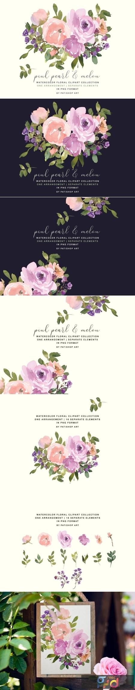 Blush Pink Watercolor Floral Bouquet Set 2544423 1