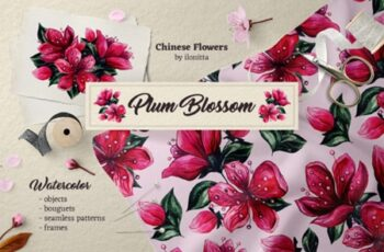 Plum Blossom Chinese Watercolor Flowers 2544692 6