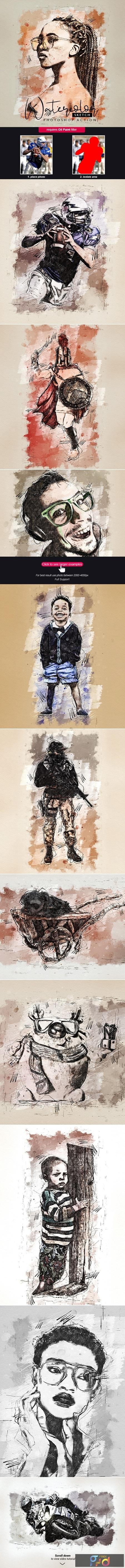 Watercolor Sketch - Photoshop Action 25362455 1