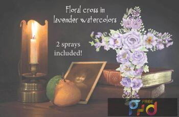 Lavender Floral Cross XRAU487 7
