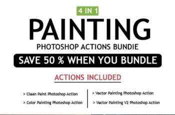 Painting 4 IN 1 Photoshop Actions Bundle 25490966 6