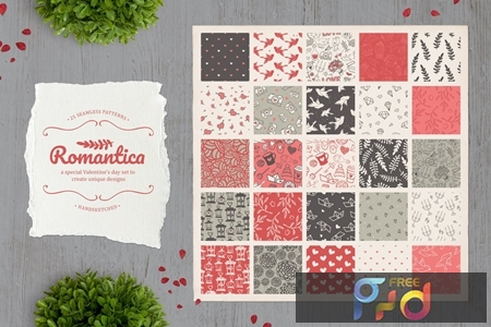 Romantica Set of 25 cute seamless patterns AR6TTYL 1
