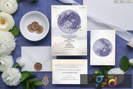 Celestial Wedding Invitation Card 7285GAU 1