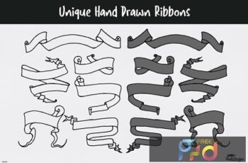 Unique Hand Drawn Ribbons 9WNH76C 6