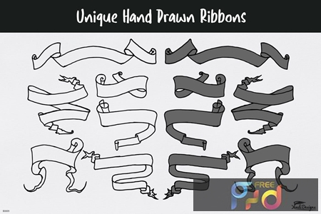 Unique Hand Drawn Ribbons 9WNH76C 1