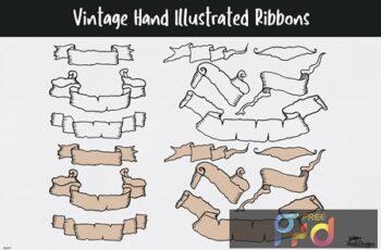 Vintage Hand Illustrated Ribbons 7HRZBNF 6