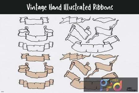 Vintage Hand Illustrated Ribbons 7HRZBNF 1