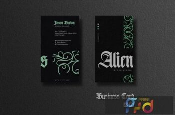 Business Card - Green Monoline Ornaments T89JCP3 5