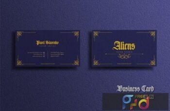 Business Card - Vintage Blue Gold Q8S6K9B 4