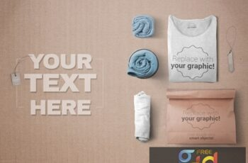 3 Rolled T-Shirts and 1 Folded T-Shirt with Paper Bag Mockup 319878078 3