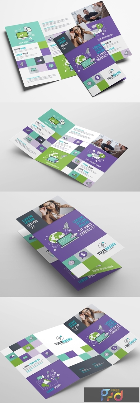 Purple and Green Trifold Brochure Layout 319811489 1