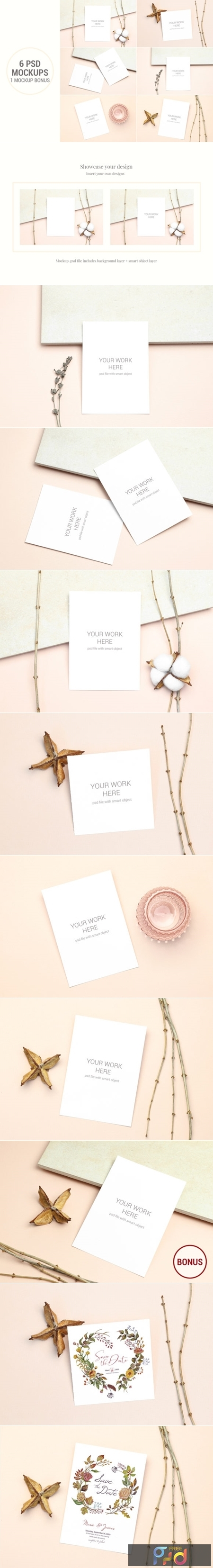 Invitation Card Mockups with Branches 2687097 1